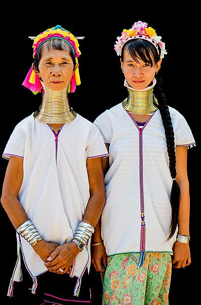 Two Kayan hill tribe women in Chiang Mai, Thailand, Asia.